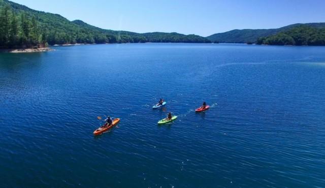photo of kayaks on lake jocassee