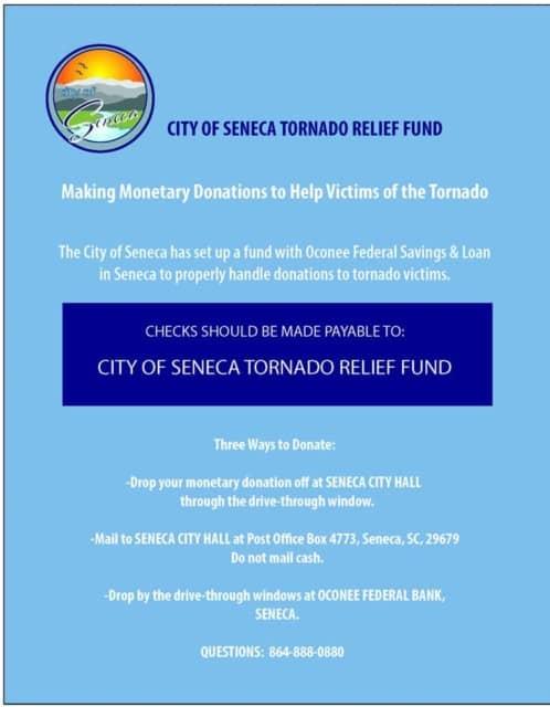 flier about city of seneca tornado relief fund