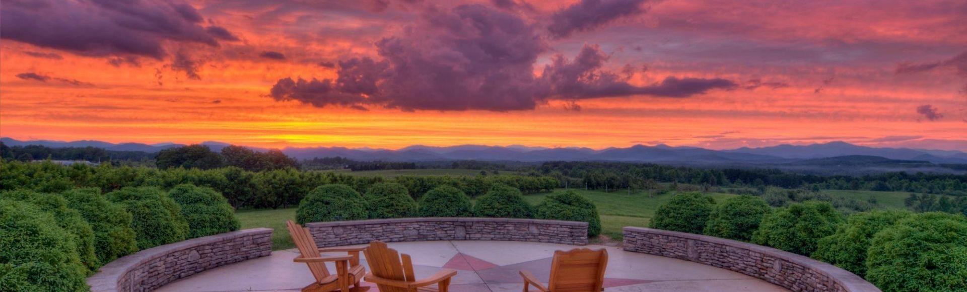 photo of sun set at Chattooga Belle Farm