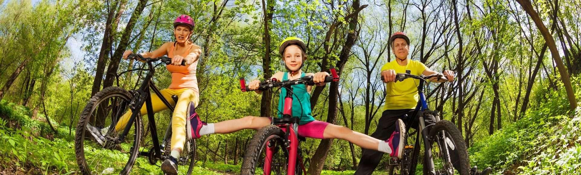 photo of family on bikes