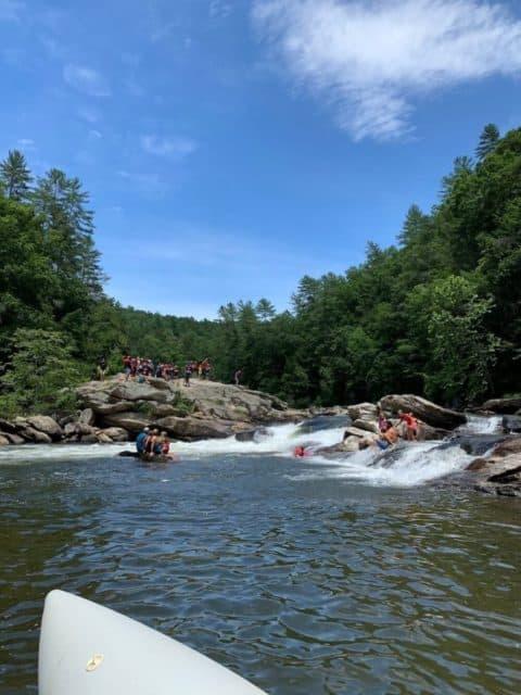 photo from raft looking across Bull Sluice rapid to Big GA rock