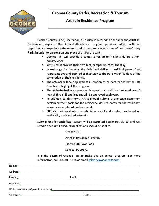 application for the artist in Residence program