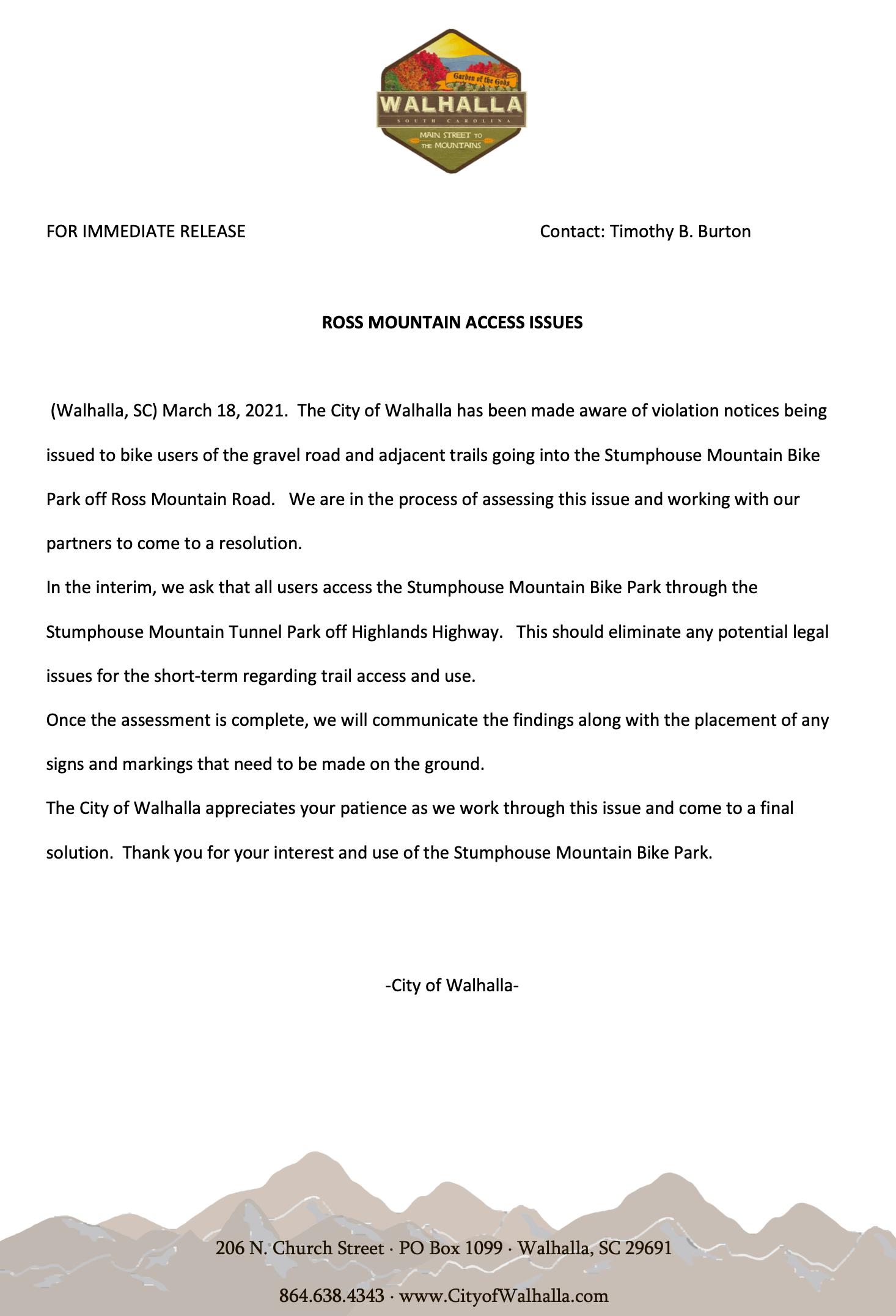 letter regarding Ross Mtn Access