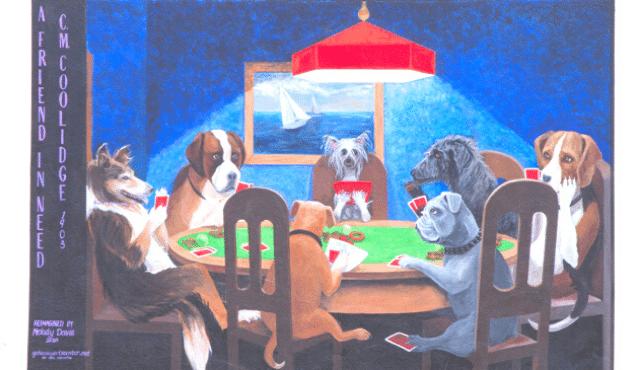 photo of poker dogs mural