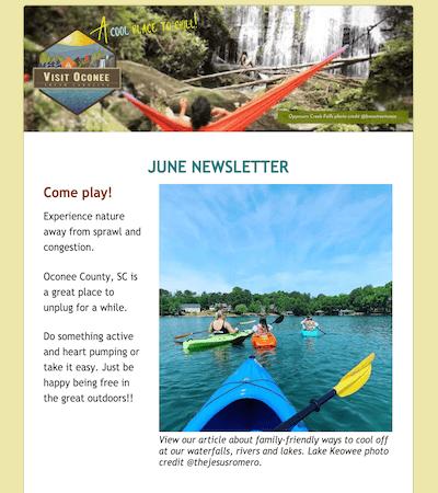 screenshot image of June newsletter