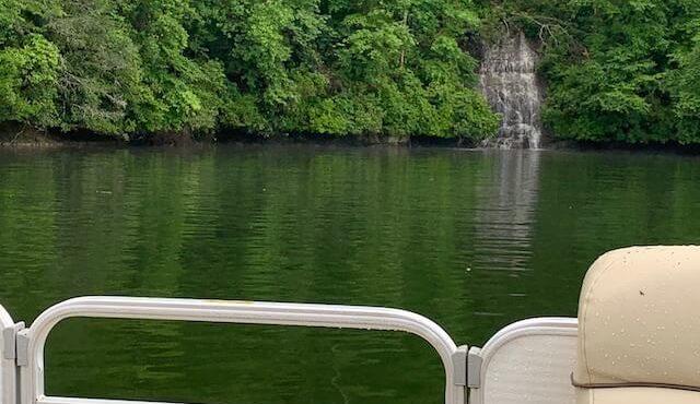 photo of ephemeral falls on Lake Jocassee