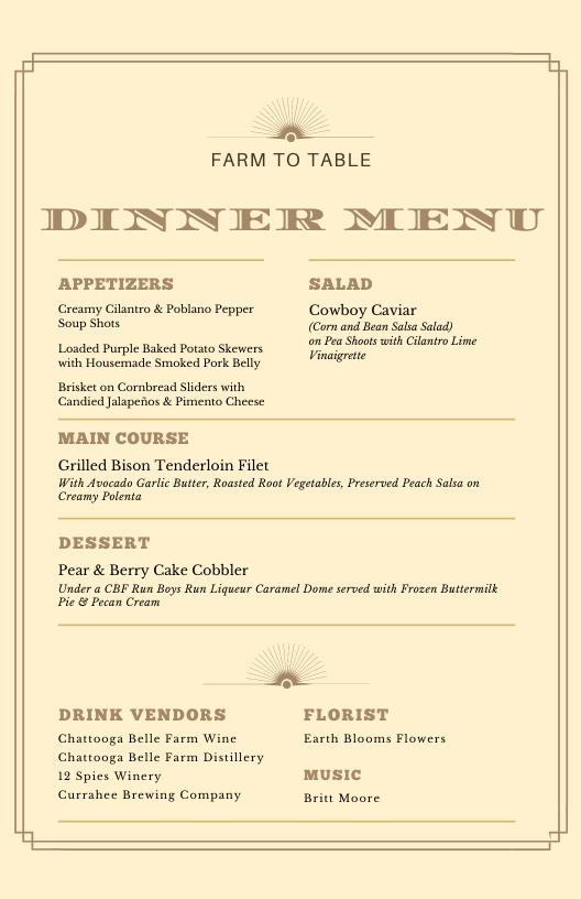 menu for Chattooga Belle Farm's farm to table dinner